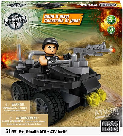 Mega Bloks Exclusive True Heroes Stealth ATV Set, Build a cool ATV with this 51-piece building bricks set By Mega Brands