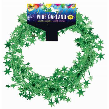 Star Wire Garland - 1 pack 25ft - Green - Party Supplies - Decorations - Barbed Wire Garland