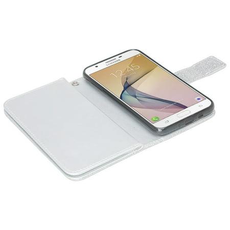 Samsung Galaxy J7 Perx, J7 Sky Pro, J7 Prime, Galaxy Halo, J7 V, J7 2017 Case Wrist Strap Glitter Faux Leather Flip [Kickstand] Wallet Cover Wristlet - Silver - image 1 de 5