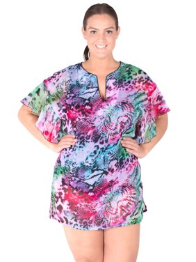 Women's Sheer Chiffon Plus Size Cover-up - Pool Party Size: 1X (16W-18W)