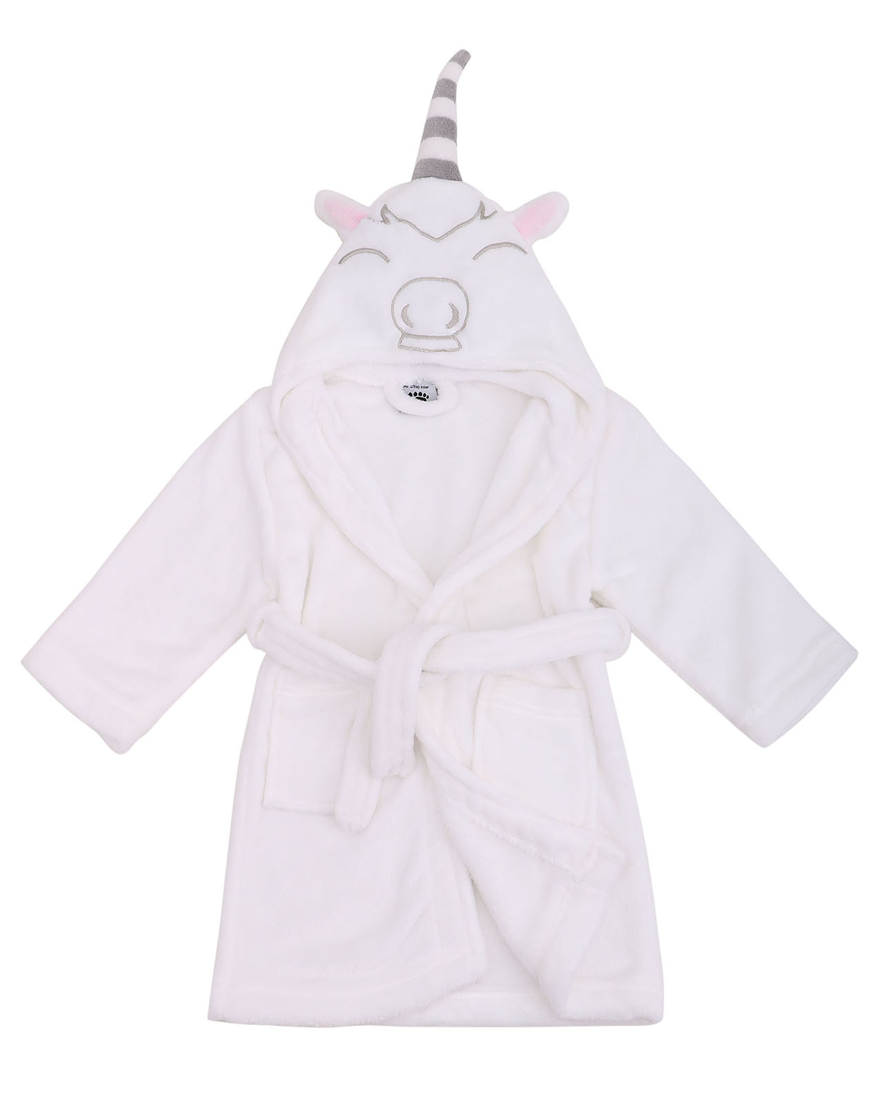 Girls Robe Animal Plush Soft Hooded Terry Bathrobe,Unicorn White,L(7-10 Years)