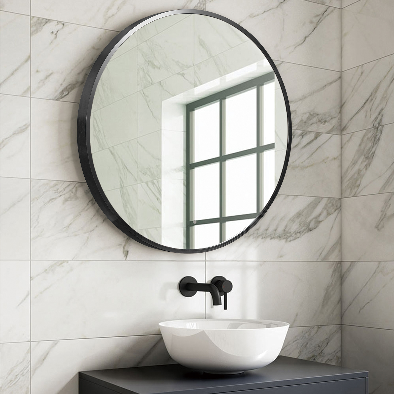 32 Inch Large Aluminum Alloy Black Round Bathroom Mirror Vanity Mirror Wall Mounted Mirror Walmart Com Walmart Com