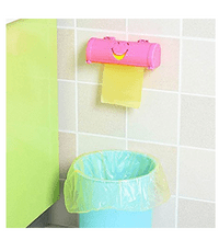 Jeobest 1PC Cartoon Smile Face Hanging Mounted Garbage Bags Storage Box Kitchen Organizer Tool MZ(pink)