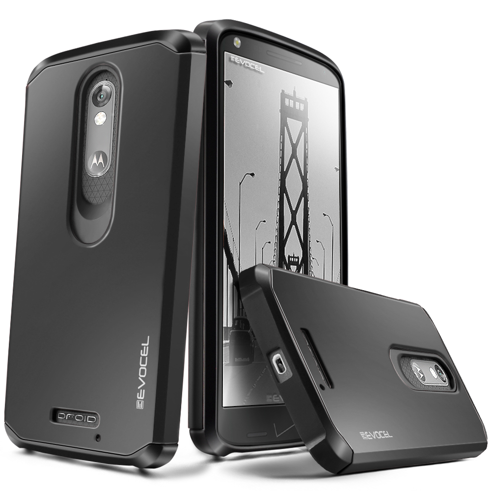 DROID Turbo 2 Case, Evocel [Lightweight] [Slim Profile] [Dual Layer] [Smooth Finish] [Raised Lip] Armure Series Phone Case for Motorola DROID Turbo 2 (XT1585/ 2015 Release), Black