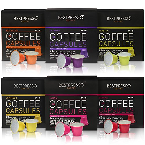 Nespresso Compatible Gourmet Coffee Capsules 120 Pod Variety Pack for Original Line... by Bestpresso