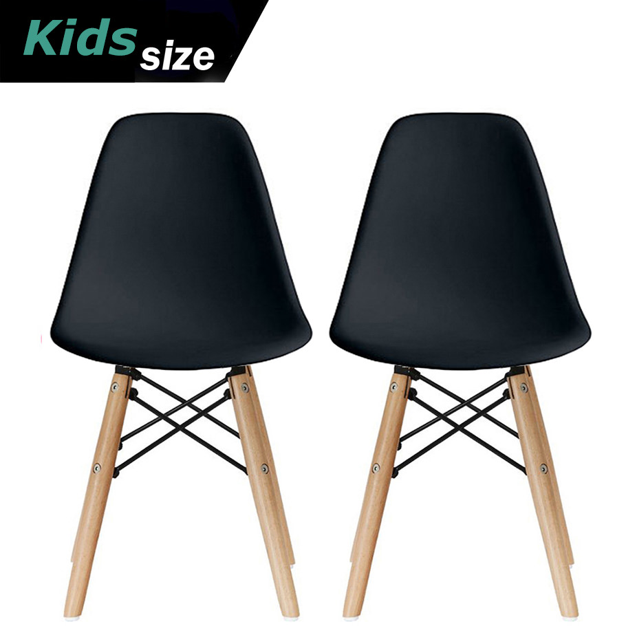 2xhome - Set of 2 - Black - Kids Size Plastic Side Chair Black Seat Natural Wood Wooden Legs Eiffel Childrens Room Chairs No Arm Arms Armless Molded Plastic Seat Dowel Leg