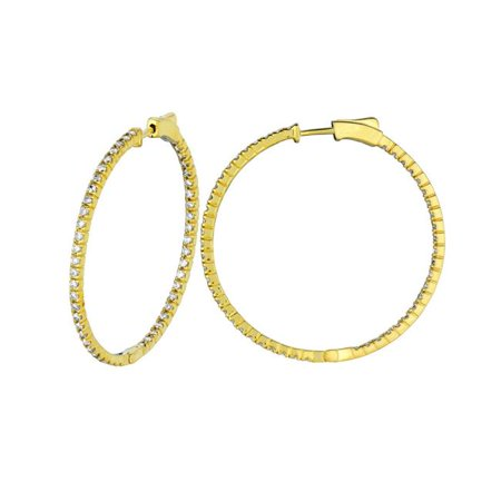 Harry Chad HC13069 2 CT 14K Yellow 2 Pointer Hoop Earrings & Patented Snap Lock - Color G-H - SI2 Clarity - image 1 of 1