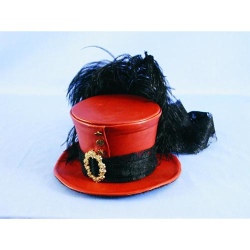 Steampunk Mini Burlesque Costume Faux Leather Red Hat w/Feathers One Size
