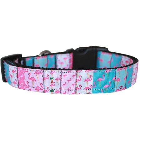 Flamingo Fun Nylon Dog Collar MD