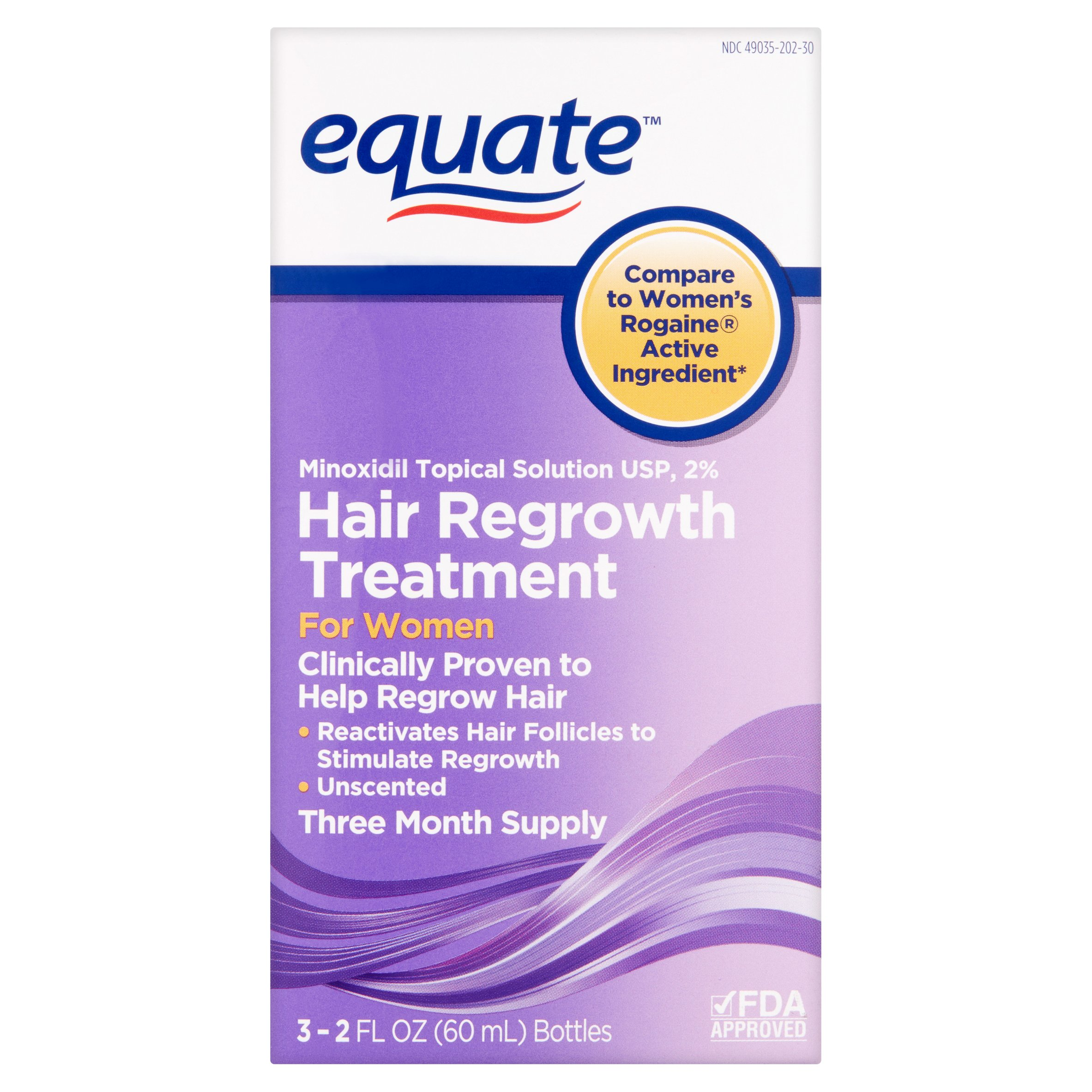 Equate Women's Treatment for Hair Loss & Hair Thinning Hair Minoxidil Women, 3 Month Supply