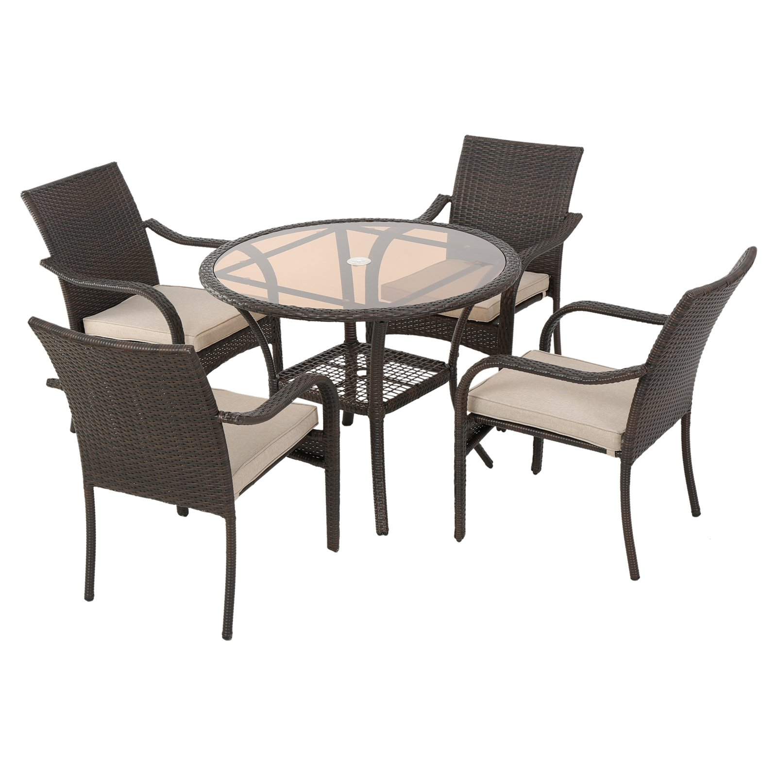 Bailey Wicker 5 Piece Round Patio Dining Set With Cushion