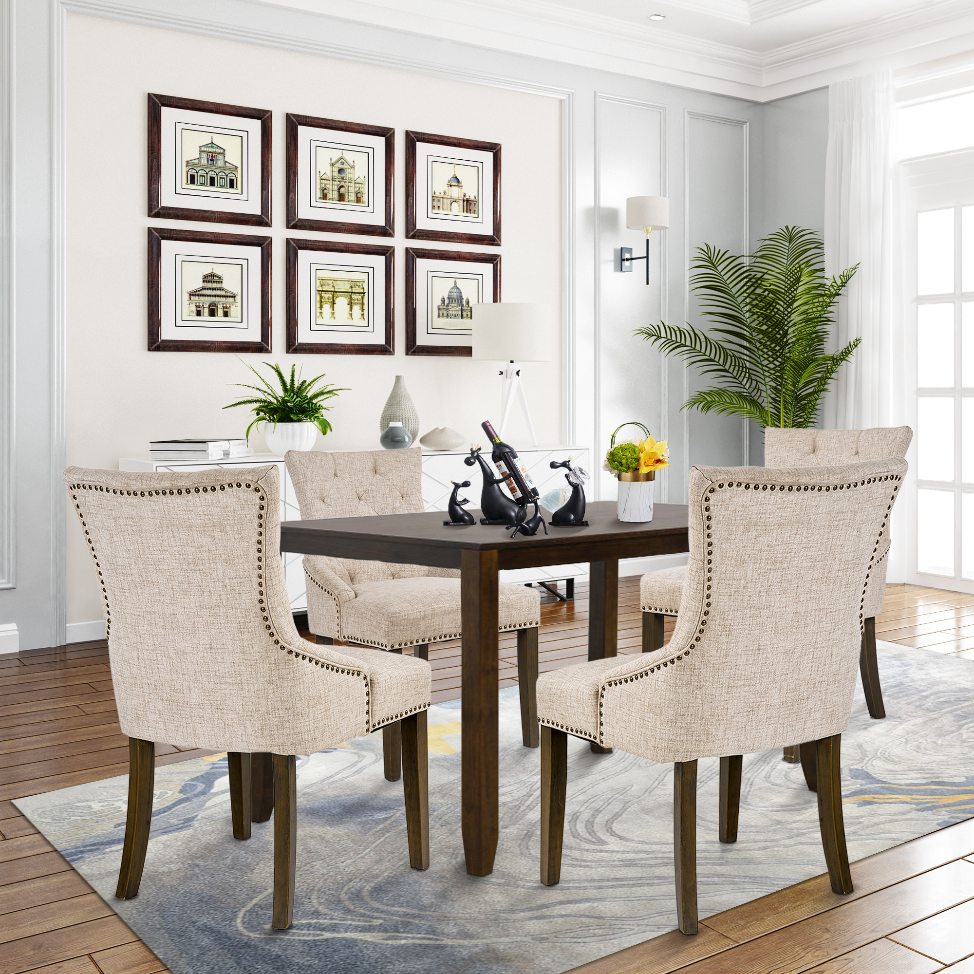 Urhomepro Tufted Upholstered Dining Chairs Set Of 4 Fabric Dining Chairs With Armrest Nailhead Trim Solid Wood Leg Vintage Dining Room Chairs Accent Chair For Living Room Bedroom Beige W12200 Walmart Com