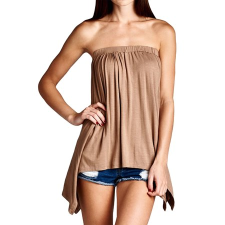 Loving People Handkerchief Asymmetrical Hem Tube Top Flared Loose Fit Strapless Tunic Shirt, Mocha, Small