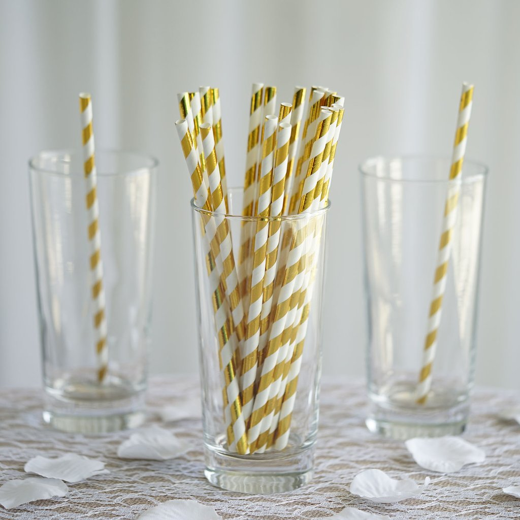 Efavormart 125 Pcs Disposable Heavy Duty Paper Straws For Wedding Birthday Party Dance Banquet Event Bar