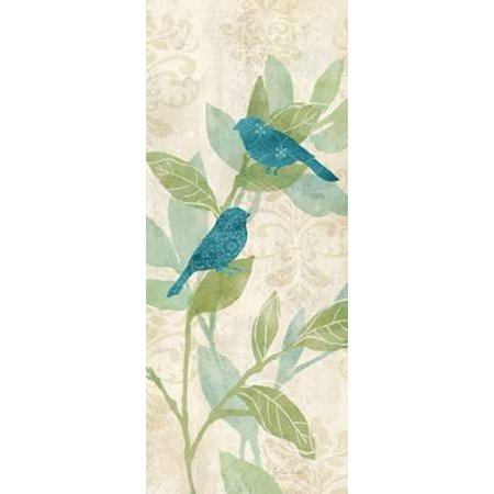 Turquoise Bird - Love Bird Patterns Turquoise Panel I Canvas Art - Cynthia Coulter (10 x 20)