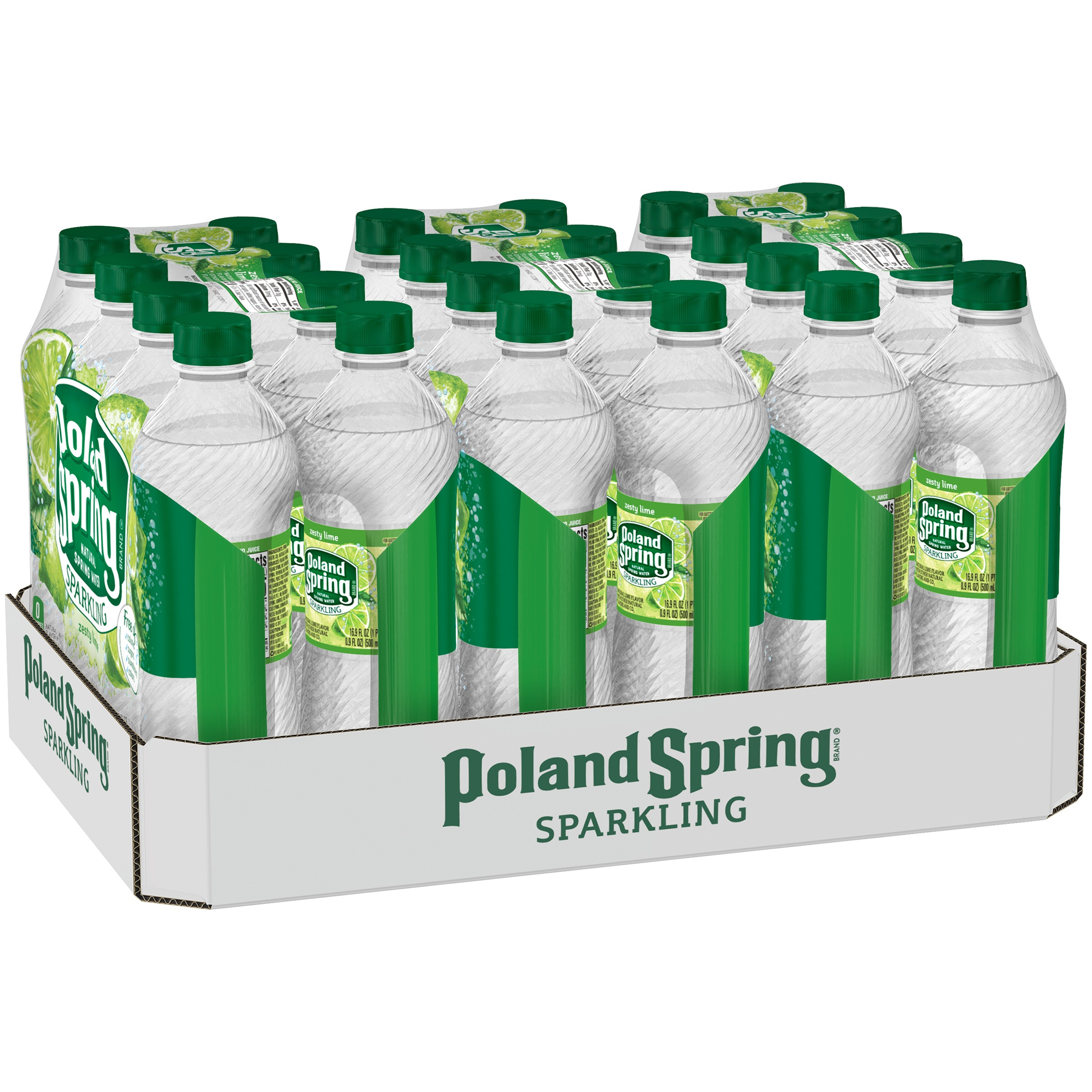 Poland Spring Sparkling Water, Zesty Lime, 16.9 oz. Bottles (Pack of 24)