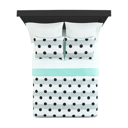 Your Zone Gray Stripe Dot Bed-in-a-Bag Bedding Set with Reversible Comforter