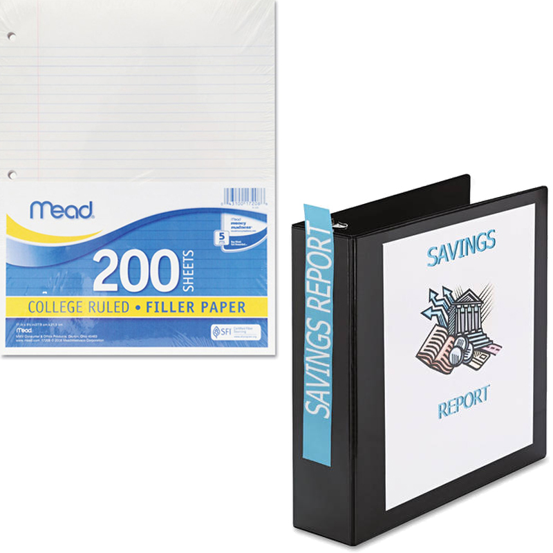"""Mead Filler Paper, College Ruled, 3-Hole Punched, 11 x 8-1/2, 200 Sheets Per Pack and Avery 1"""" Heavy Duty View Binder with EZD Ring, Navy Blue Bundle"""