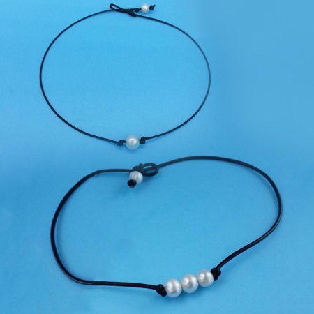 KABOER Single/Three  Pearl Choker Necklace on Genuine Leather Cord Handmade Jewelry Gift Pearl Jewelry Gift