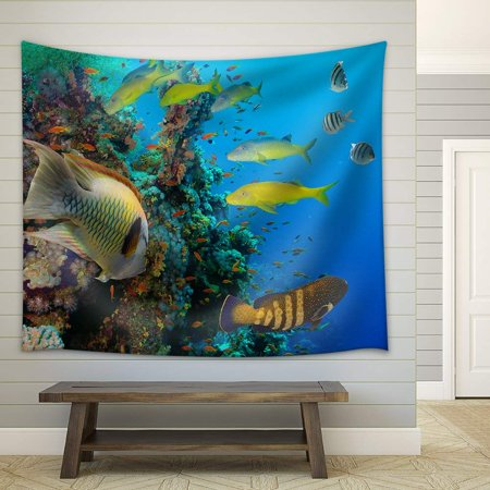 wall26 - Colorful underwater offshore rocky reef with coral and sponges and small tropical fish swimming by in a blue ocean - Fabric Wall Tapestry Home Decor - 51x60 inches