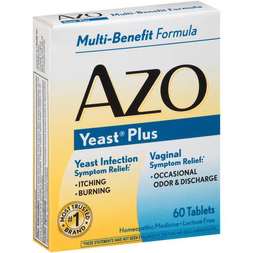 AZO Yeast Plus Infection & Vaginal Symptom Relief Tablets, 60 Ct, 2 Pack