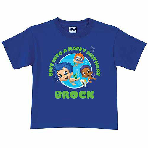 Personalized Bubble Guppies Birthday Boys' Royal Blue T-Shirt