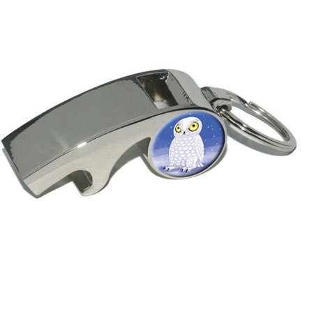 Snowy Owl, Bird Snow, Plated Metal Whistle Bottle Opener Keychain Key Ring