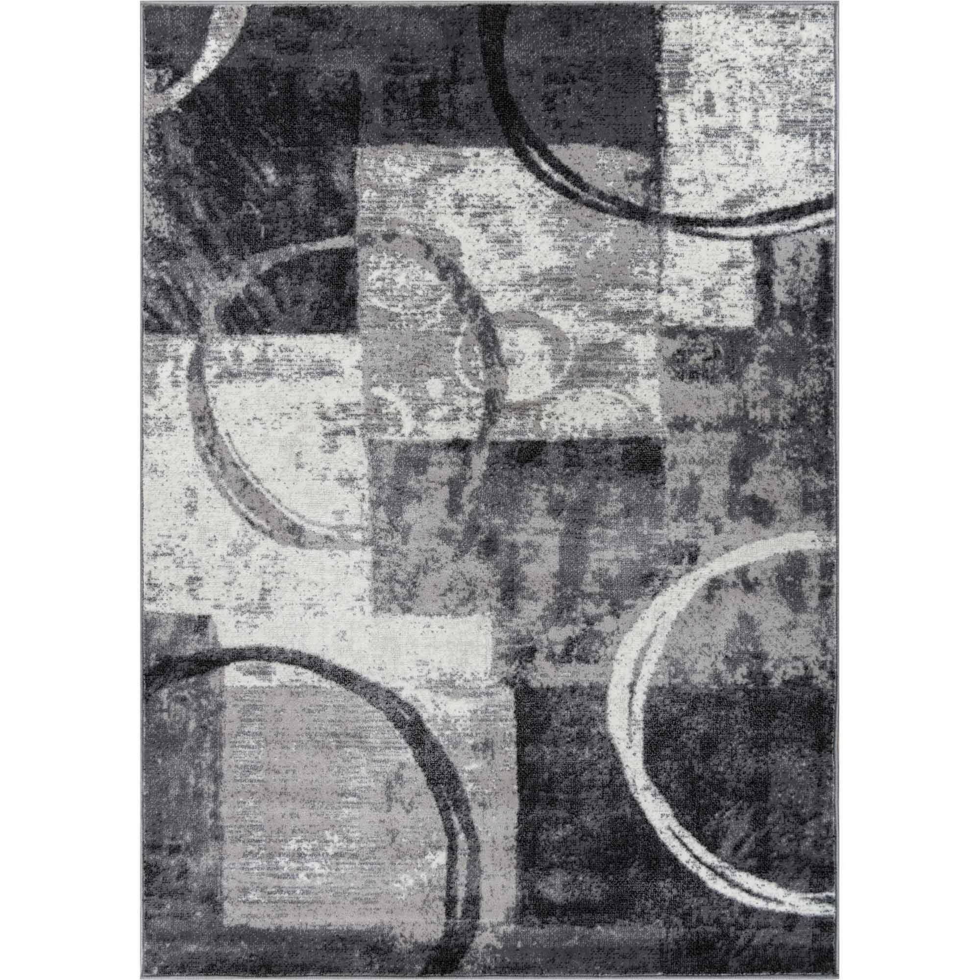 Well Woven Ash Spheres Watercolor Contemporary Area Rug, Grey