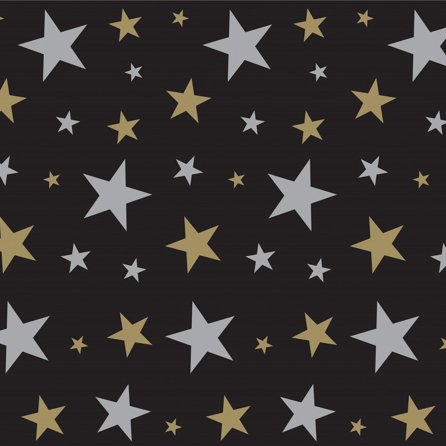 Pack of 6 Jet Black with Gold and Silver Stars Celebration Photo Backdrop