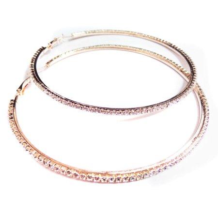 Divas Diggables - Large Rhinestone Crystal Hoop Earrings 4 inch Hoop Rose  Gold Plated - Walmart.com f13869c535a7