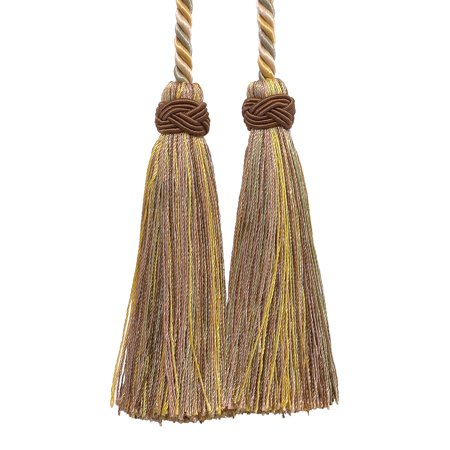Collection White Gold Two Light - Double Tassel / Beige, Gold, Green / Tassel Tie with 4 inch Tassels, 26