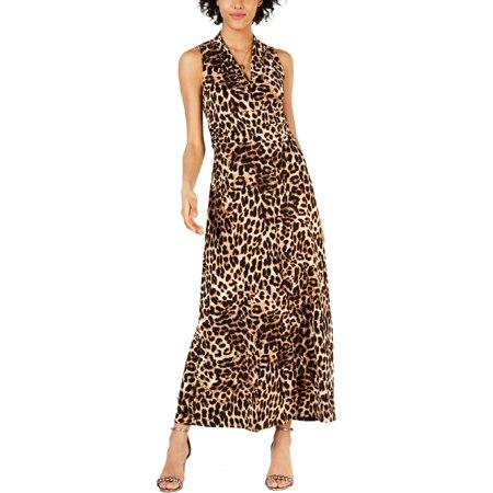 Vince Camuto Womens Animal Print Halter Evening Dress Nylon Print Halter Dress