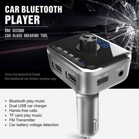 Bluetooth FM Transmitter Led Display Wireless Car Stereo Radio Adapter Receiver Hands-free Calling Car Kit Mp3 Player Car Charger Broken window