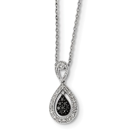 White Night Collection Sterling Silver Black and White Diamond Teardrop Charm (Diamond Drop Pendant)