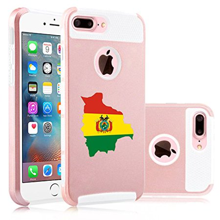 For Apple (iPhone 8 Plus) Shockproof Impact Hard Soft Case Cover Bolivia Bolivian Flag (Rose -