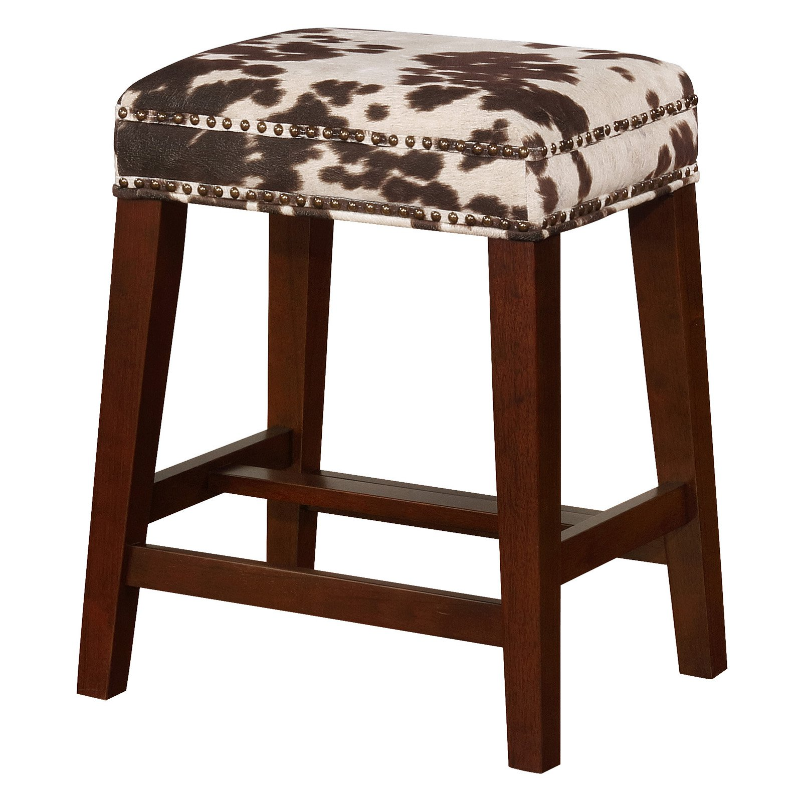 Linon Walt Counter Stool 24 5 Inch Seat Height Brown Cow