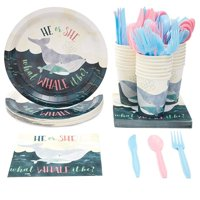 Serves 24 Whale Gender Reveal Party Supplies, 144PCS Plates Napkins Cups, Favors Decorations Disposable Paper Tableware Kit Set for Baby Shower