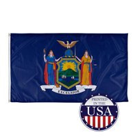New York State Flag - 3ft x 5ft, Knitted Polyester, State Flag Collection, Made in The USA