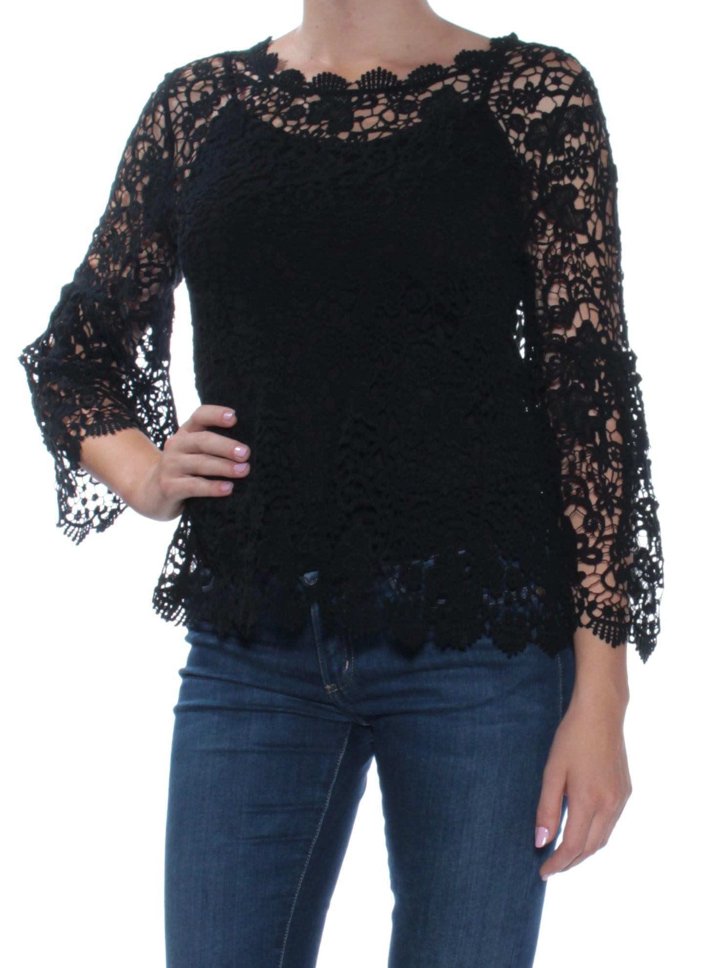 3d63ed1aa10 Alfani - ALFANI Womens Black Textured Lace Bell Sleeve Jewel Neck Top Size:  M - Walmart.com