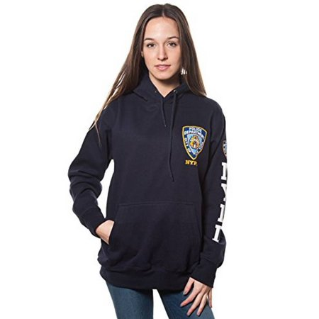 Adult Nypd Navy Pullover Hoodie with Chest Patch and Sleeve Print (XXLarge)