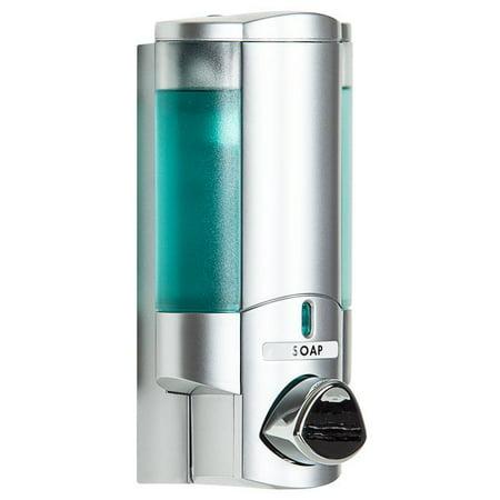 Dispenser Amenities 36134 Aviva 10 oz. Satin Silver Wall Mounted Locking Soap Dispenser with Translucent Bottle - image 1 de 1