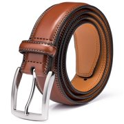 Men's Belt, Genuine Leather Dress Belts for Men with Single Prong Buckle- Classic & Fashion Design for Work Business and Casual (Brown, 34in)
