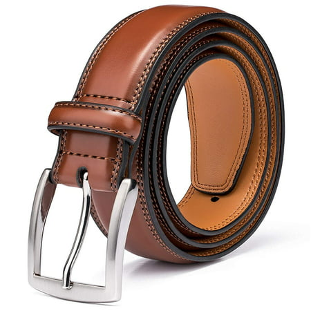 Men's Belt, Genuine Leather Dress Belts for Men with Single Prong Buckle- Classic & Fashion Design for Work Business and Casual (Brown, 34in) 2' Leather Work Belt