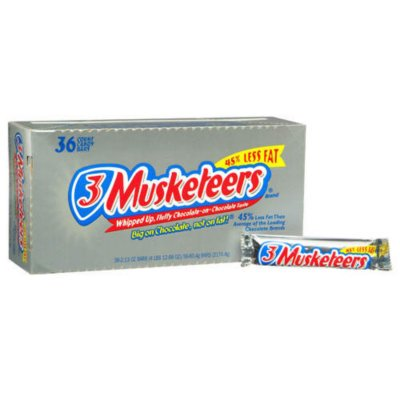 3 MUSKETEERS Chocolate Singles Size Candy Bars, 1.92 Oz. Bar, 36 Ct.Box