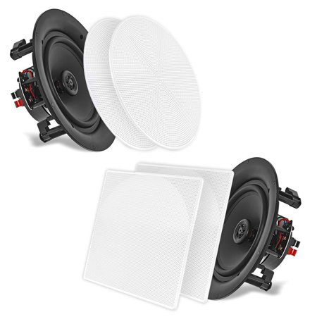 """PYLE PDIC106 - 10.0"""" In-Wall / In-Ceiling Dual Stereo Speakers, 250 Watt, 2-Way, Flush Mount, White"""