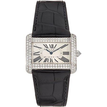 Tank Divan Cream Dial Ladies 18 Carat White Gold Diamond Watch ()