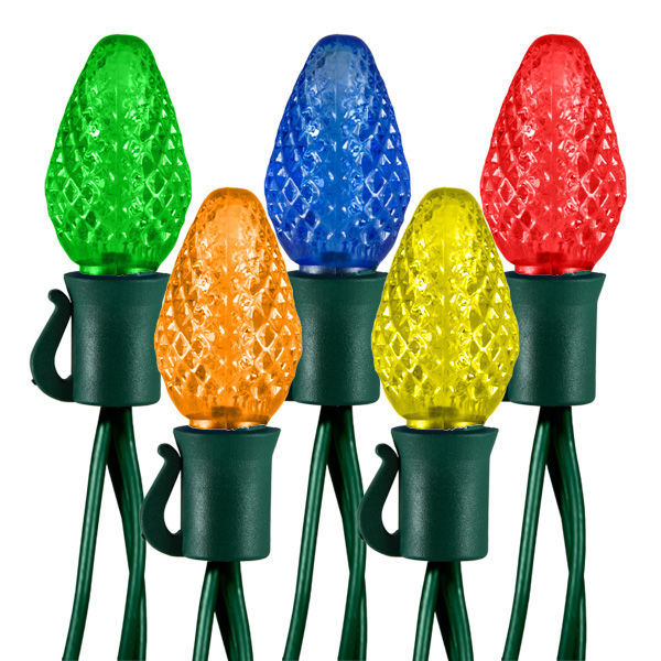 17 ft. Stringer - (25) LED C7 - MULTI-COLOR - 8 in. Bulb Spacing - 87 Set Max. Connections - Green Wire - Commercial Grade