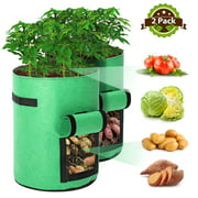Tvird Potato Grow Bags, 2 Pack 10 Gallon Planting Heavy Duty Pouch Fabric Pots with Handles Premium Breathable Cloth Bags for Potato/Plant Container(Green)