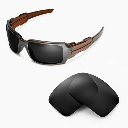 Walleva Black Polarized Replacement Lenses for Oakley Oil Drum II Sunglasses