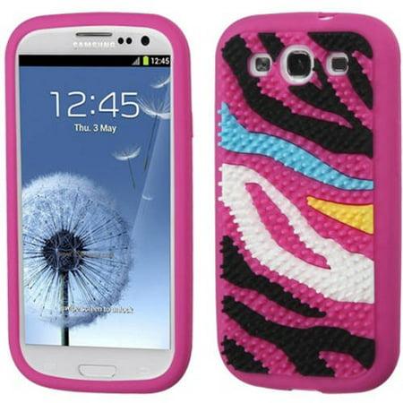 Samsung I747/I9300/L710/I535/T999/R530 Galaxy S III MyBat Pastel Skin Cover, Colorful Zebra Skin Spike/Hot Pink